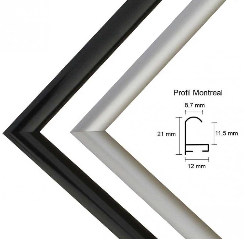 Montreal Aluminium Bilderrahmen Alu mit Rückwand und Acrylglas,