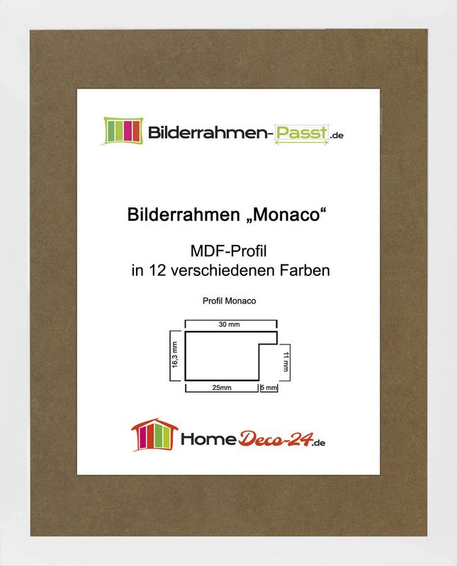 monaco mdf bilderrahmen ohne rundungen kantiger bauhausstil 2 mm anti. Black Bedroom Furniture Sets. Home Design Ideas