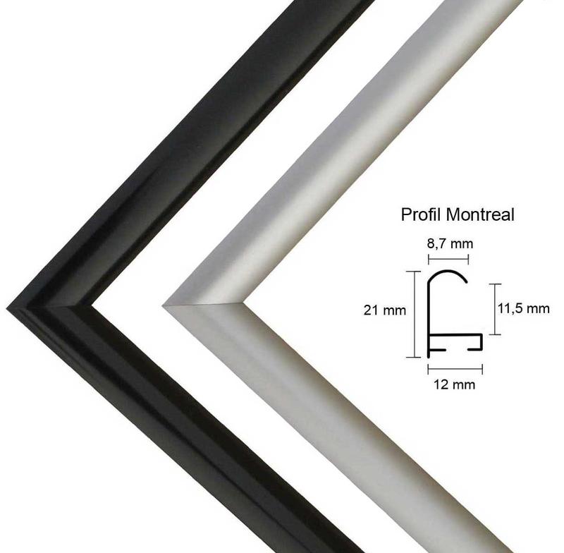 Montreal Aluminium Bilderrahmen Alu mit Rückwand und Acrylglas -